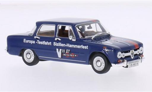 Alfa Romeo Giulia 1/43 Minichamps blau/Dekor 1970 Europe-Testfahrt Sizilien-Hammerfest modellautos