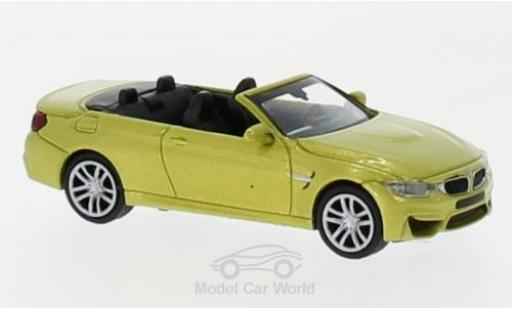 Bmw M4 1/87 Minichamps Cabriolet metallise yellow 2015 diecast model cars
