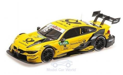 Bmw M4 1/18 Minichamps No.16 Team RMG Deutsche Post DTM 2018 T.Glock modellino in miniatura