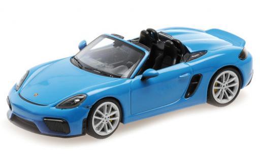 Porsche Boxster 1/43 Minichamps 718 Spyder (982) blue 2020 Softtop couché avec diecast model cars