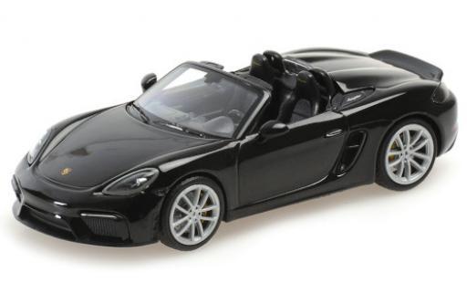 Porsche Boxster 1/43 Minichamps 718 Spyder (982) black 2020 Softtop couché avec diecast model cars