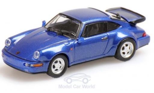 Porsche 964 Turbo 1/18 Minichamps (964) Turbo metallic-bleue 1990 miniature