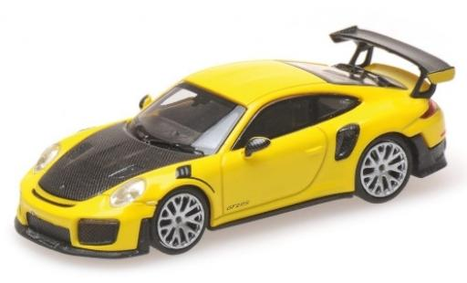 Porsche 991 GT2 RS 1/87 Minichamps 911  yellow 2018 avec Carbon-Capot diecast model cars