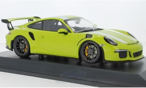 Porsche 991 GT3 RS 1/18 Minichamps 911  verte/blanche 2015 miniature