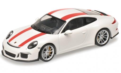 Porsche 911 1/12 Minichamps (991) R bianco/rosso 2016 miniatura
