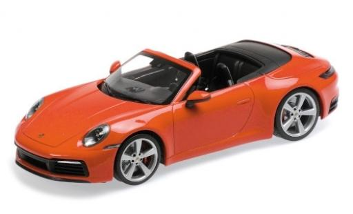Porsche 992 4S 1/18 Minichamps 911  Carrera Cabriolet orange 2019 miniature