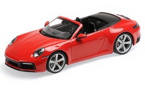 Porsche 992 4S 1/18 Minichamps 911  Carrera Cabriolet rouge 2019 miniature