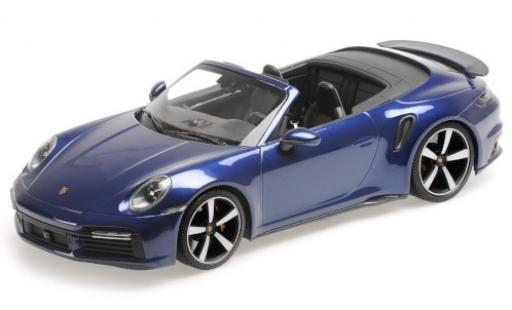 Porsche 992 Turbo s 1/18 Minichamps 911  Turbo S Cabriolet metallise bleue 2020 miniature