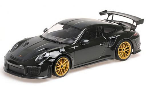 Porsche 991 GT2 RS 1/18 Minichamps 911 (.2) green/carbon 2018 avec Weissach Paket et doré Magnesium jantes diecast model cars