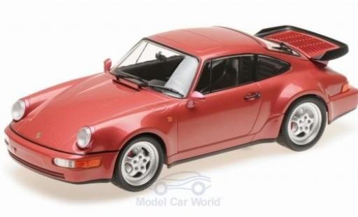 Porsche 964 Turbo 1/18 Minichamps 911  metallise rouge 1990 miniature