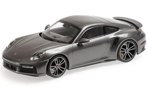 Porsche 992 Turbo s 1/18 Minichamps 911 Turbo S  metallise grise 2020 miniature