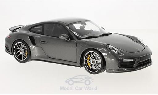 Porsche 991 Turbo 1/18 Minichamps Turbo S metallic-grise 2016 miniature