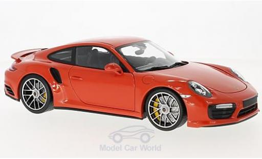 Porsche 991 Turbo 1/18 Minichamps Turbo S orange 2016 miniature