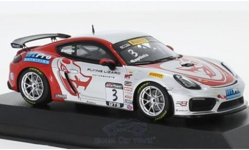 Porsche Cayman 1/43 Minichamps GT4 Clubsport MR No.3 Flying Lizard Motorsports Pirelli World Challenge 2017 R.Baptista miniature