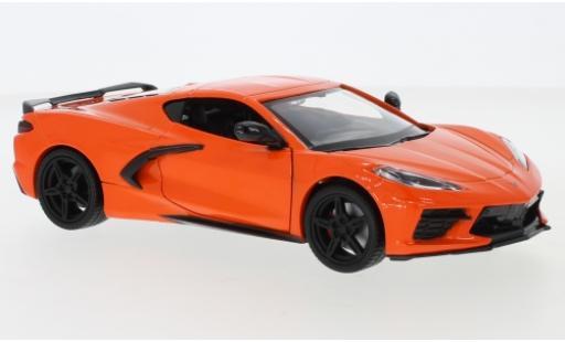 Chevrolet Corvette 1/24 Motormax C8 Stingray metallise orange 2020 miniature