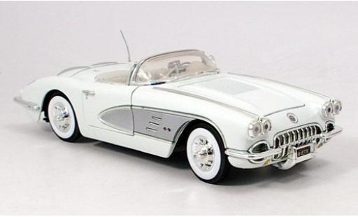 Chevrolet Corvette 1/18 Motormax bianco/grigio 1958 modellino in miniatura