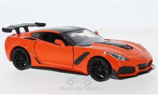 Chevrolet Corvette 1/24 Motormax ZR1 orange/noire 2019 miniature