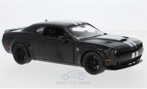 Dodge Challenger 1/24 Motormax SRT Hellcat noire/blanche 2018 miniature