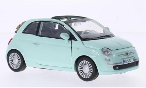 Fiat 500 1/24 Motormax Cabrio green diecast model cars
