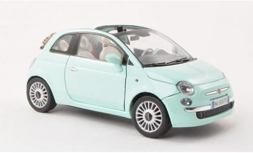 Fiat 500 1/18 Motormax Cabrio turquoise diecast model cars