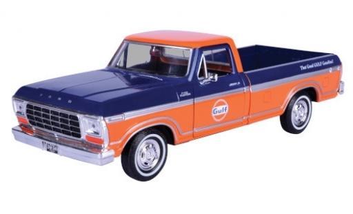 Ford F-1 1/24 Motormax 50 Custom Pick Up bleue/orange Gulf miniature