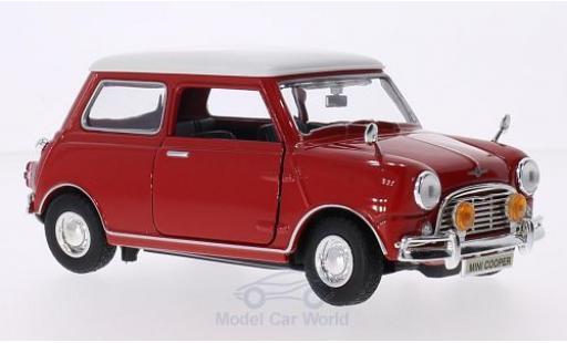 Mini Cooper 1/18 Motormax rouge/blanche RHD miniature