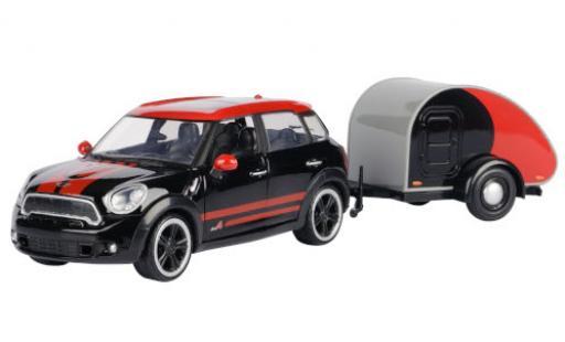 Mini Cooper 1/24 Motormax S All4 Countryman noire/rouge avec caravane miniature