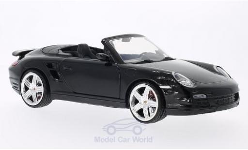 Porsche 997 Turbo 1/18 Motormax 911  Cabriolet negro ohne Vitrine coche miniatura