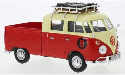 Volkswagen T1 1/24 Motormax Doka beige/rojo mit Dachgepäckträger No.8 coche miniatura
