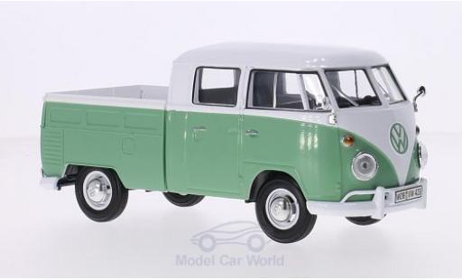 Volkswagen T1 1/24 Motormax DoKa blanche/verte miniature
