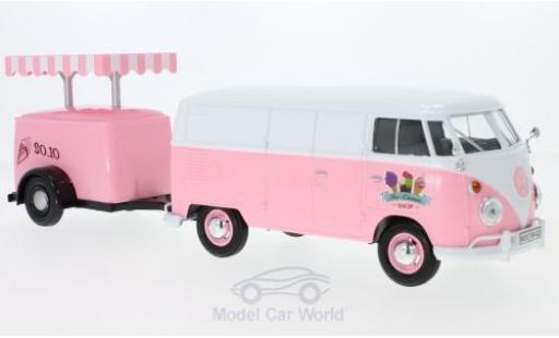 Volkswagen T1 A 1/24 Motormax Kastenwagen rose/blanche Kastenwagen mit Kühlanhänger miniature