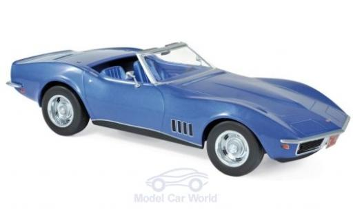 Chevrolet Corvette 1/18 Norev C3 Convertible metallise blue 1969 diecast model cars