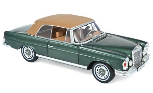 Mercedes 280 1/18 Norev SE (W111) Cabriolet metallise verde/beige 1969 modellino in miniatura