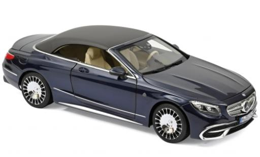 Mercedes Classe S 1/18 Norev Maybach S650 Cabriolet metallise blue 2018 diecast model cars