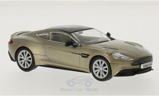 Aston Martin Vanquish 1/43 Oxford Coupe metallic-beige/schwarz RHD modellautos