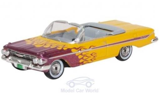 Chevrolet Impala 1/87 Oxford Convertible yellow/metallise purple 1961 Hot Rod diecast model cars