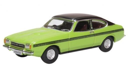 Ford Capri 1/76 Oxford MKII verte/matt-noire RHD miniature