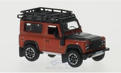 Land Rover Defender 1/76 Oxford 90 orange RHD Station Wagon miniature