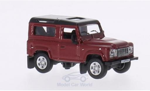 Land Rover Defender 1/76 Oxford 90 metallise rouge/metallise noire RHD Station Wagon miniature