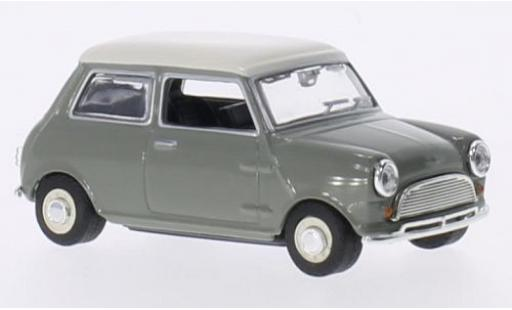 Mini Cooper 1/43 Oxford grise/blanche RHD miniature