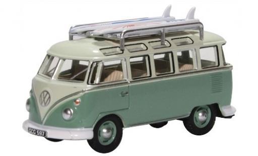 Volkswagen T1 1/76 Oxford Samba grün/grün mit Dachgepäckträger und Surfboards modellautos