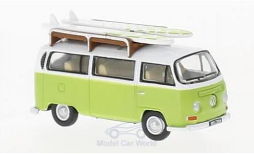 Volkswagen T2 B 1/76 Oxford Bay Window Camper hellgrün/white mit Surfboards diecast