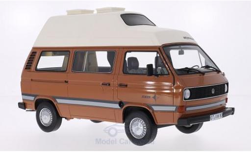 Volkswagen T3 1/18 Premium ClassiXXs a Westfalia Joker marron/matt-blanche Hochdach ohne Vitrine miniature
