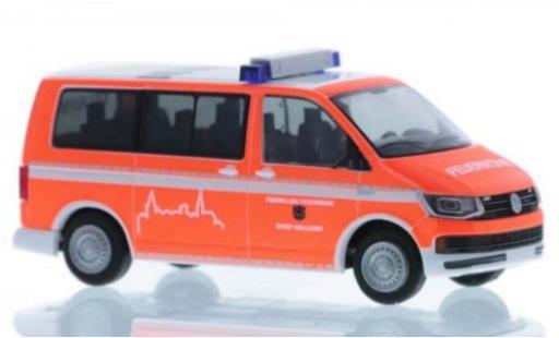 Volkswagen T6 1/87 Rietze Feuerwehr Walldorf court- empattement coche miniatura