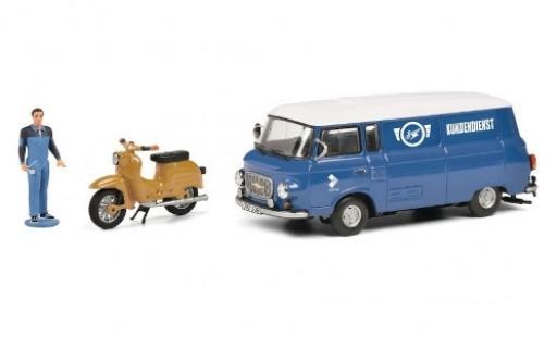 Barkas B 1000 1/43 Schuco Simson Kundendienst avec figurine et Simson Schwalbe KR51 modellino in miniatura