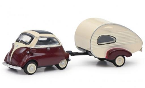 Bmw Isetta 1/87 Schuco rouge/blanche avec ES-Piccolo-remorque miniature