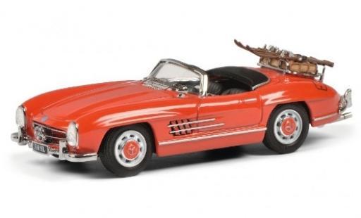 Mercedes 300 1/43 Schuco SL Roadster (W198 II) rouge mit Skiträger und Ladegut miniature