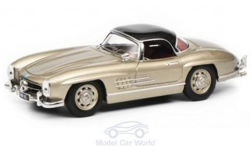 Mercedes 300 1/43 Schuco SL Roadster (W198) metallise beige/black diecast model cars
