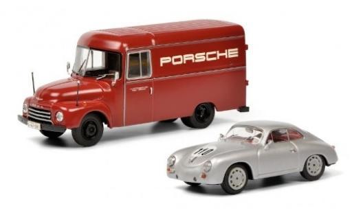 Opel Blitz 1/43 Schuco Kasten Porsche Rennsport avec Porsche 356 Rennfahrzeug modellino in miniatura