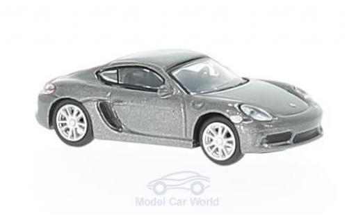 Porsche 718 1/87 Schuco Cayman S metallic-grise miniature